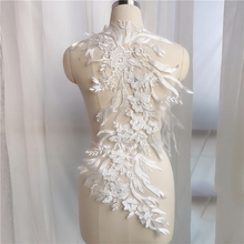 1 Piece Embroidery Corded Lace Applique Gold Ivory Lace Patch Sewing Bridal Wedding Dress corded mouse
