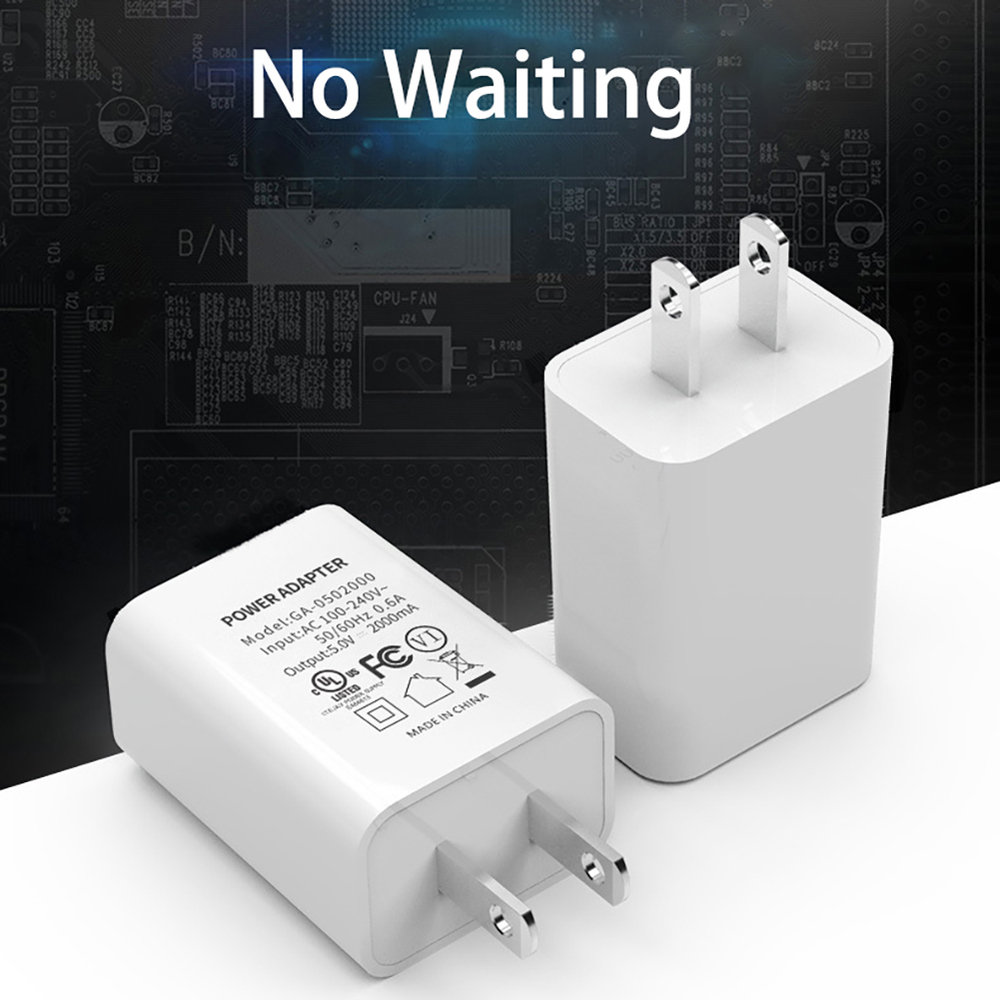Fast charge <font><b>5V</b></font> 2A <font><b>USB</b></font> <font><b>Wall</b></font> Power Adapter <font><b>Charger</b></font> 2 PIN US Plug For Smart Mobile Phone for iPhone Samsung Xiaomi Huawei Hot NEW image