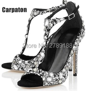 351f6a28147001 2016 Luxury Diamond Wedding Shoe Jeweled Heel Gladiator Sandals Women  Rhinestone Crystal Embellished T Strap Summer Party Shoes