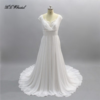 New 2018 Boho Wedding Dress Simple Chiffon A Line Sweep Train Cheap Bridal Dresses Custom Made