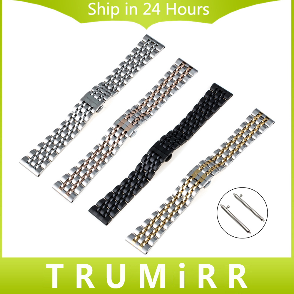 Quick Release Stainless Steel Watchband 18mm 20mm 22mm Universal Watch Band Butterfly Buckle Strap Wrist Bracelet Black Silver 18mm 20mm 22mm quick release watch band butterfly buckle strap for tissot t035 prc 200 t055 t097 genuine leather wrist bracelet