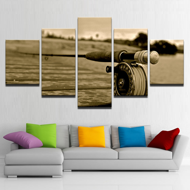 Wall Art Landscape Canvas Paintings Living Room Decor Poster 5 Piece Fly Rod Fishing