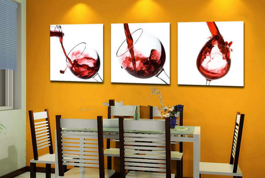 Big 3pcs Modern Home Decor RED WINE GLASS Wall Art Picture Dining Room Bar Coffee House Canvas Print Oil Painting