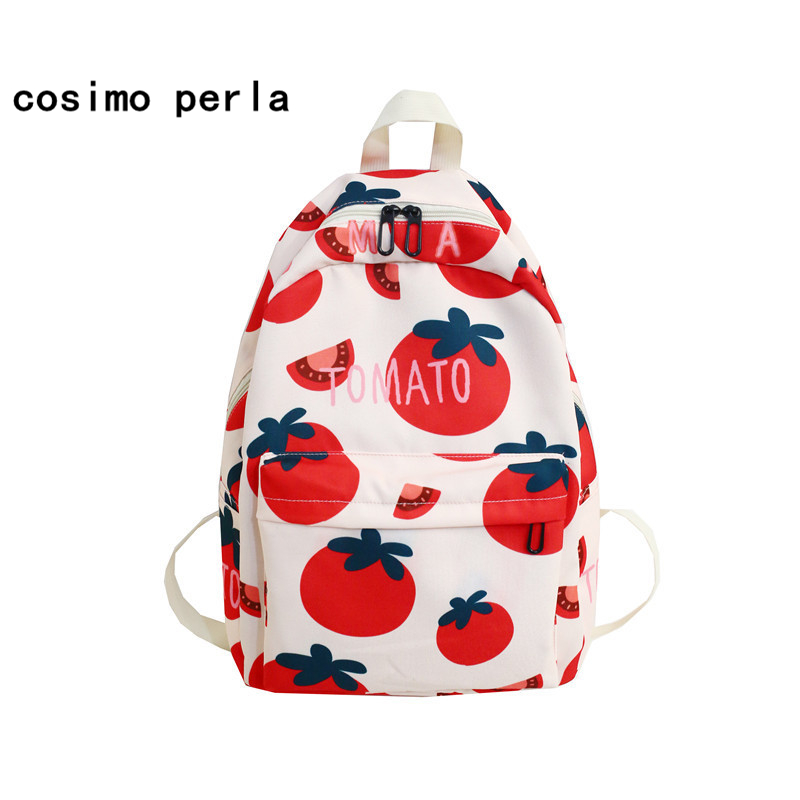 Avocado Fruit Printed Bookbags Canvas Cute Women's Backpacks 2020 Girls Casual Sac A Dos Large Preppy Style 17 Schoolbags Tomato