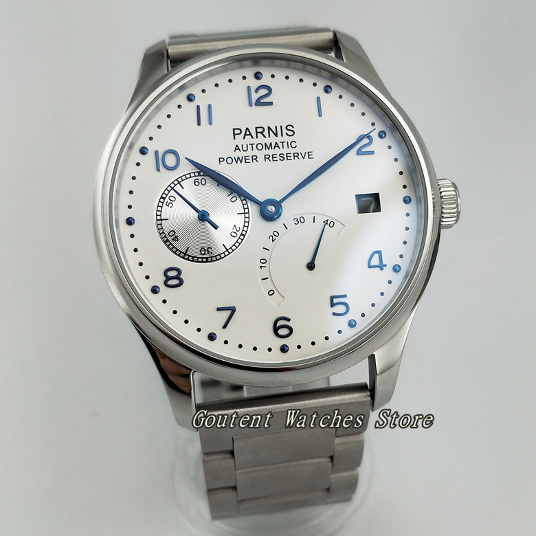 43mm Parnis Date White Dial Steel Power Reserve <font><b>ST2530</b></font> Automatic Men Watch image