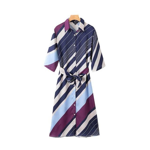 Women Retro Striped Shirt...