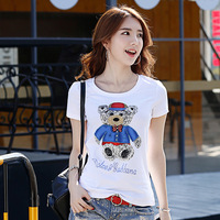 2017 Summer Ladies Fashion Cotton O Neck Short T Shirt Slim Cotton Shirt Blouse For Woman