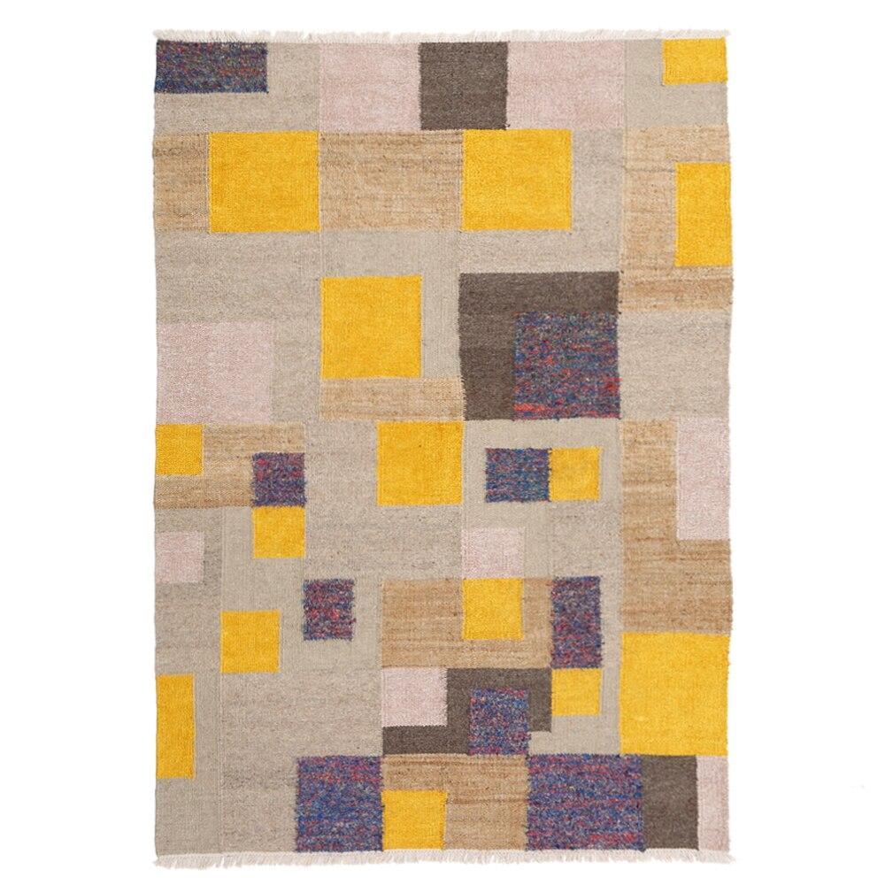 Tapis nordique motif géométrique tissé à la main laine soie jute salon tapis 160 cm x 230 cm