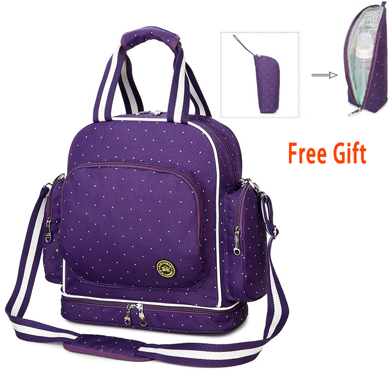 все цены на Mother Maternity Bag Baby Diaper Backpack Stroller Bags Nappy Bag With Urine Pad And Portable Insulation Bag For Nursing Bottle онлайн