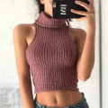 Turtleneck Crop Top Sweater Women Pullover Autumn Ladies Jumper Knitwear Red Sleeveless Pull Femme Y004