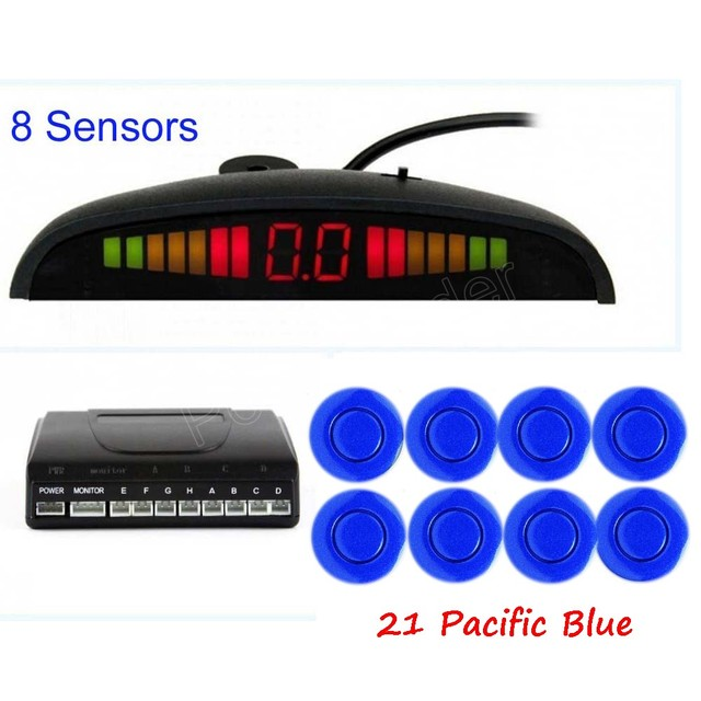 free shipping Car LED Parking Sensor Kit 8 Sensors Backlight Display Reverse Backup Radar Monitor System 12V 44 colors