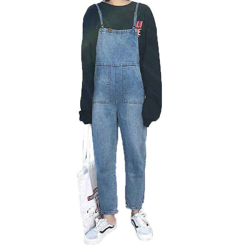 Fashion Women Boyfriend Denim Overalls High Street Fashion Retro Loose High Waist Straight Jumpsuit Plus Size