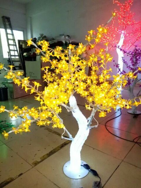 outdoor waterproof artificial 1 m led cherry blossom tree lamp 240leds yellow christmas tree light for