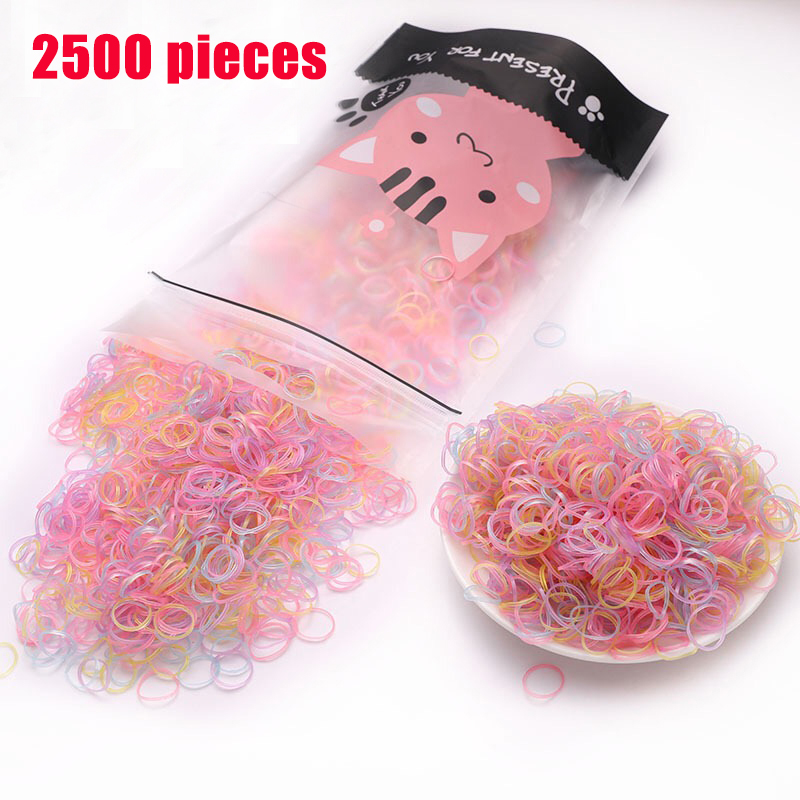 2500PCS/bag New Child Baby Hair Holders Rubber Bands Elastics Girl Tie Braids Hair Accessories Disposable Elastic Hair Bands