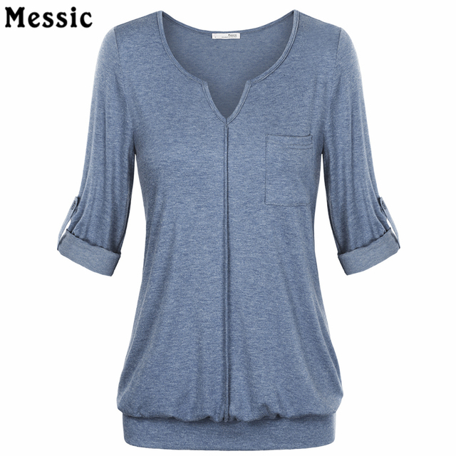 Women's V Neck Cuffed Sleeve Knit Shirt Blouse Summer Long Sleeve With Pocket  Casual Tops Female Large Size Knit Large Size Top