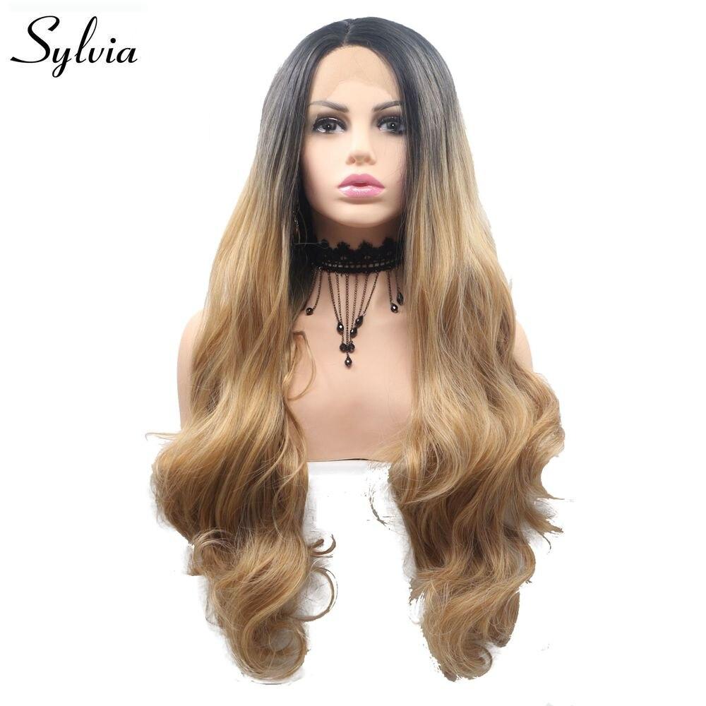 Sylvia Blonde mixte brun coupe de cheveux longue vague de corps synthétique dentelle avant perruque résistant à la chaleur sans colle complet Cosplay perruques femmes cheveux