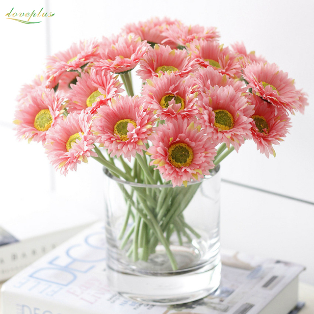 Zinmol 6cm Head Artificial Gerbera Daisy Flower Sun Flowers Bouquet For Home Decoration Wedding Party