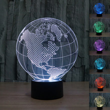 DC5V 0.5W 3D Illusion LED Table Lamp Colorful Gradient American Globe Novelty Light Acrylic USB Night Light as Gift Dropshipping