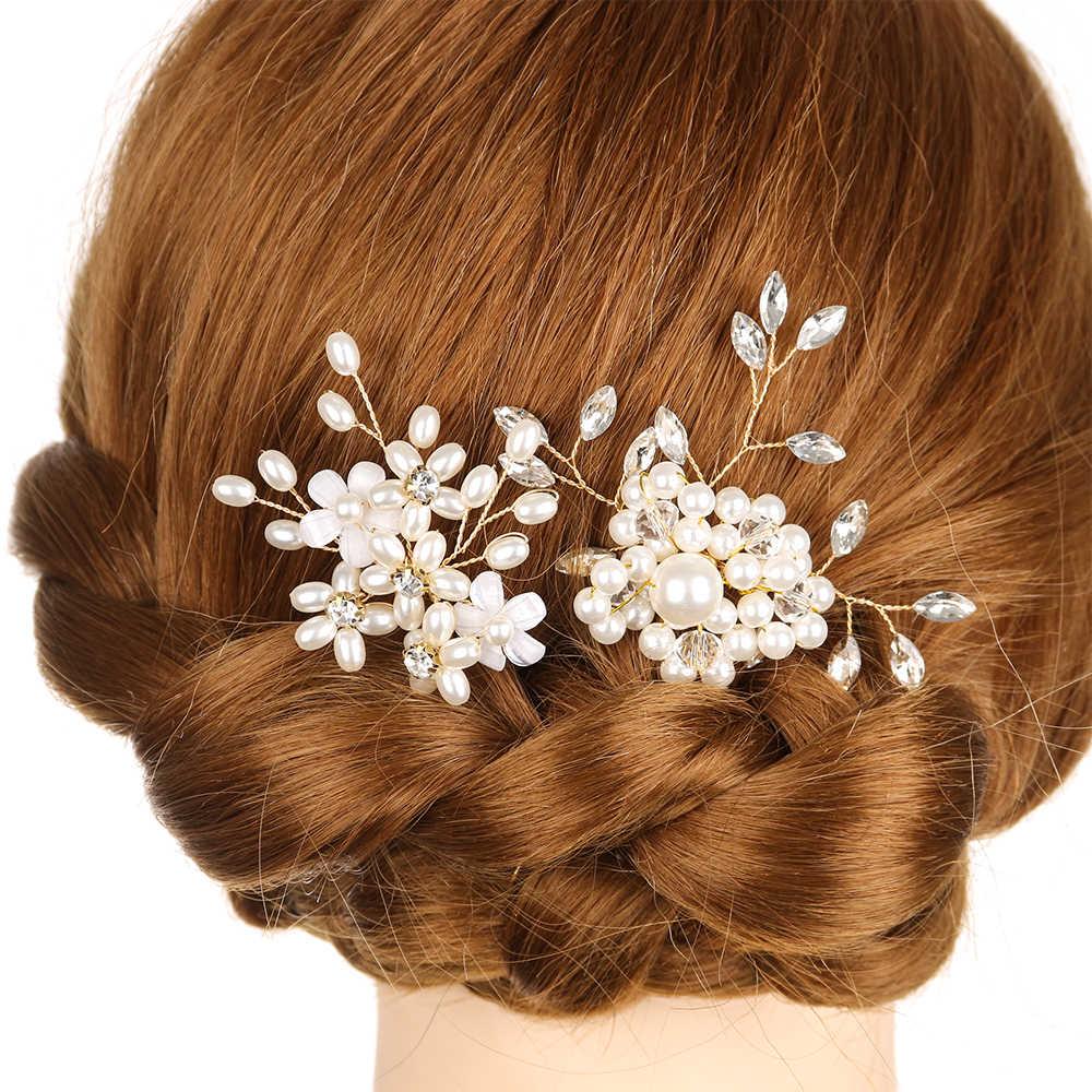 סיכת פנינת כלה קליפ יוקרה קריסטל ריינסטון חתונת סיכת ראש מקלות זהב לנשף הכלה שושבינה אבזרים לשיער לנשים