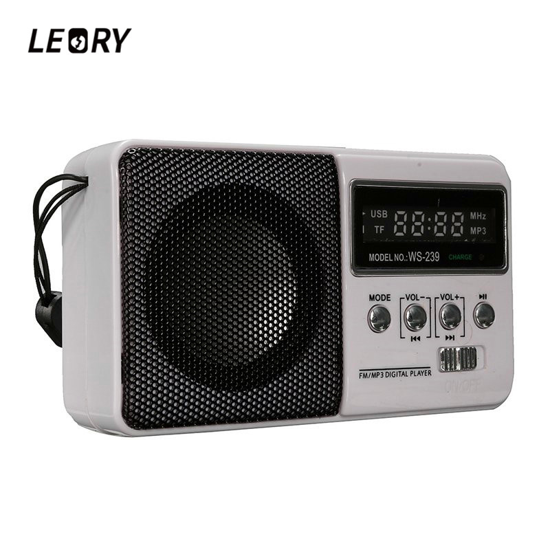 LEORY LCD Mini Portable DC 5V FM Radio Speaker With TF Card Slot Sports Rechargeable MP3 Music Player Loudspeaker punk style floral hollow out cuff ring for women