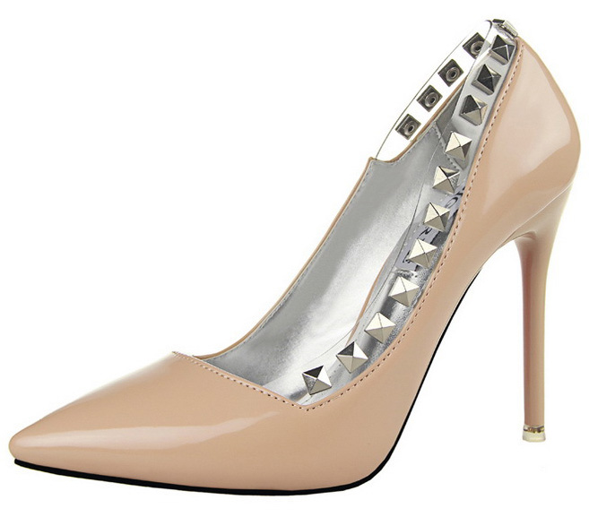 Ali Style Factory 2016 HOT women pumps red bottom high heels 10.5cm brand rivets pointed toe nude women shoes heels office Party Shoes AIF104