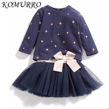hot deal buy new spring baby girl clothes girls clothing sets lovely bow-knot stars long sleeve+ skirt casual 2pcs kids girls clothes suits