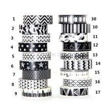 1X 15mm Tape Black White set Dot,Flower,Star Print Scrapbooking DIY Sticker Decorative Masking Japanese Washi Paper 0m