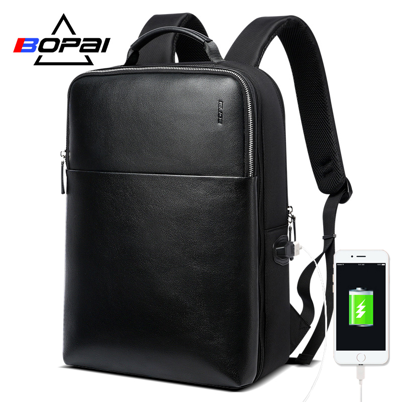 BOPAI Large Capacity Men Travel Bags Detachable 15.6inch Laptop Backpack with Main Bag for Men Business Travel Leather back pack image