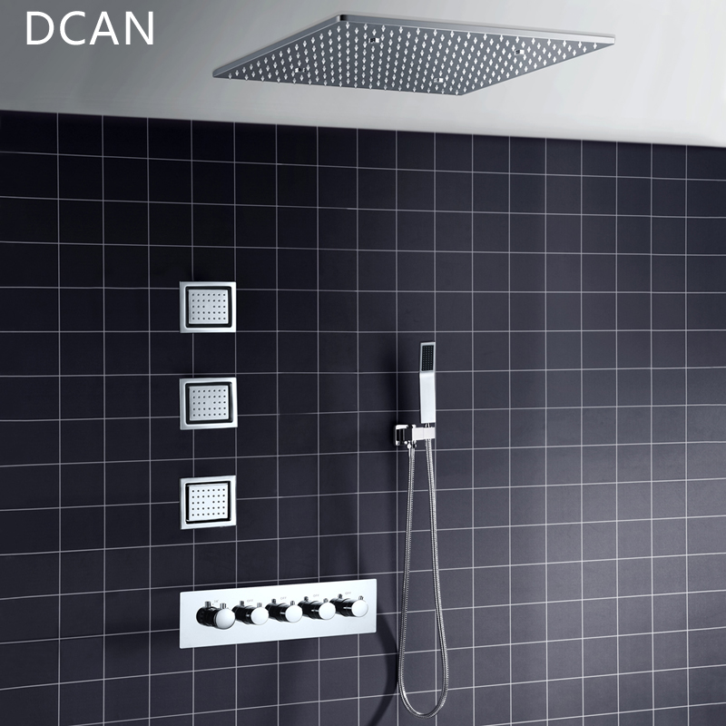 Big 20 Inch Overhead Ceiling LED Rain Spa Shower Head Set Bathroom 5 Function Temperature Controller Shower 3 Wall Body Spray water qinxin anion small spa rain shower hose shower base set white