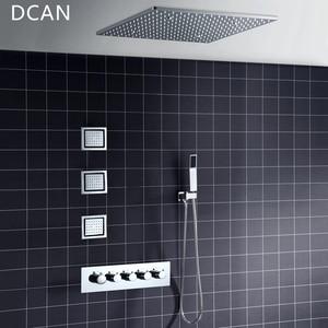 Image 2 - Big 20 Inch Overhead Ceiling LED Rain Spa Shower Head Set Bathroom 5 Function Temperature Controller Shower 3 Wall Body Spray