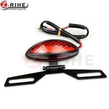Мотоцикл лампы двойной Cat Eye пользовательские держатель номерного задние фонари стоп фонарь указатели поворота мотокросс