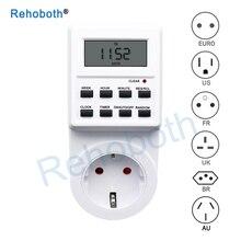 ЕС Великобритания США FR BR Plug цифровой Еженедельный Программируемый Электрический настенный разъем питания таймер розетка выключатель времени часы 220 В 110 В переменного тока
