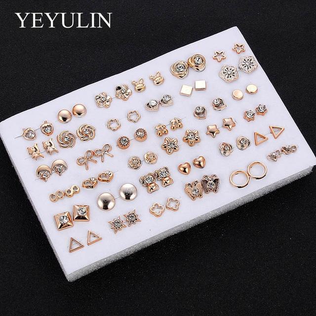 36Pairs/18pairs Earrings Mixed Styles Rhinestone Sun Flower Geometric Animal Plastic Stud Earrings Set For Women Girls Jewelry 4
