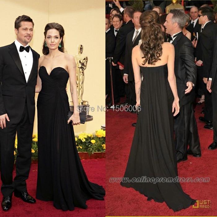 Celebrity Noche 2015 Angelina Vestidos Jolie Oscar Backless Negro pnTnqRP7
