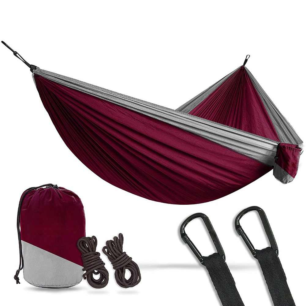 2 Person Double Camping Hammock XL 10 Foot Nylon Portable Heavy Duty Holds  700lb for Sitting Hanging Big Crazy Promotion Sale