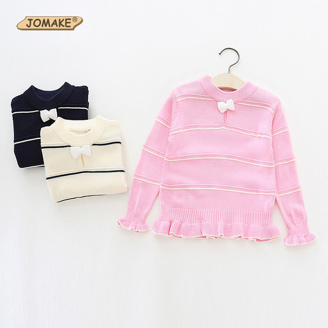 2016 New Arrival Baby Girls Striped Knitted Pullovers Girls O-neck Bow Sweaters Kids Soft Coats & Jackets Child Casual Outerwear