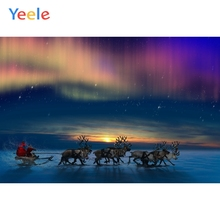 Yeele Christmas Photocall Santa Claus Sled Ice River Photography Backdrop Personalized Photographic Backgrounds For Photo Studio