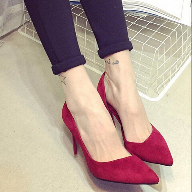 bc6be2c0a3ee Kiko all-match shoes grey Pink black velvet high-heeled shoes thin heels  shallow mouth pointed toe shoes