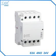 Din-рейку контактор бытовой AC 63A 4NO 24 В бытовой контакт модуль din-рейку модульная контактор