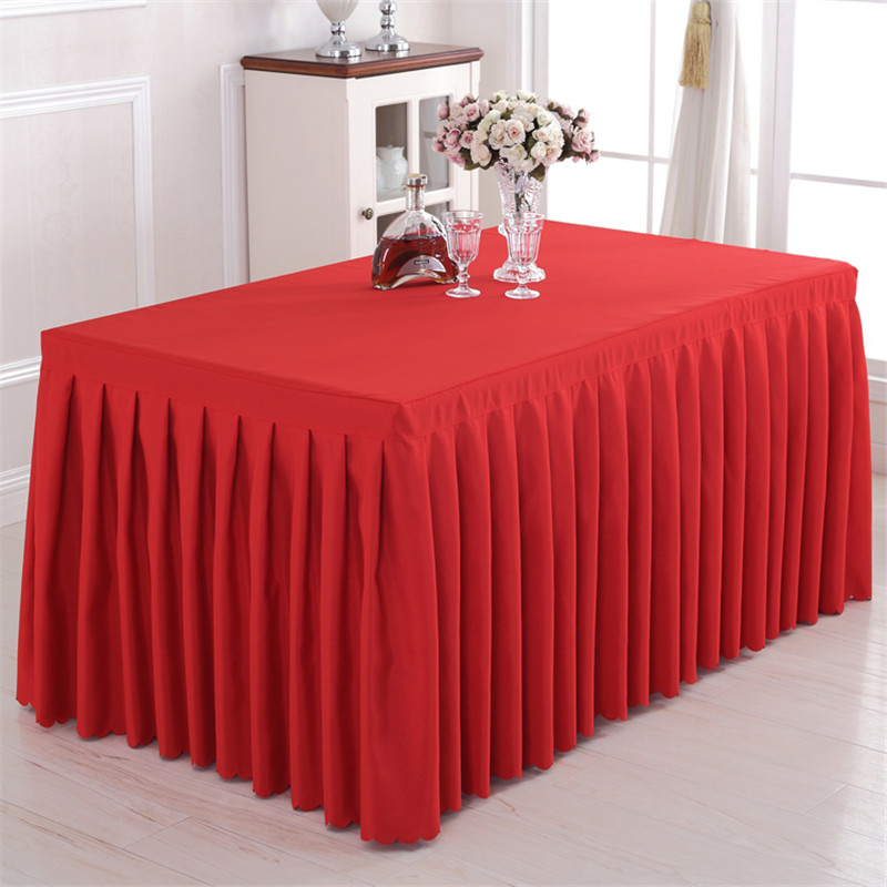 Polyester White Banquet Table Skirt For Birthday Wedding Party Table Clothes Lines Table Cover Table Skirting Decoration
