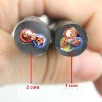 Pure copper wire RVV power cord 2 core or 3core 11~20AWG square outdoor soft sheathed wire cable.10meter
