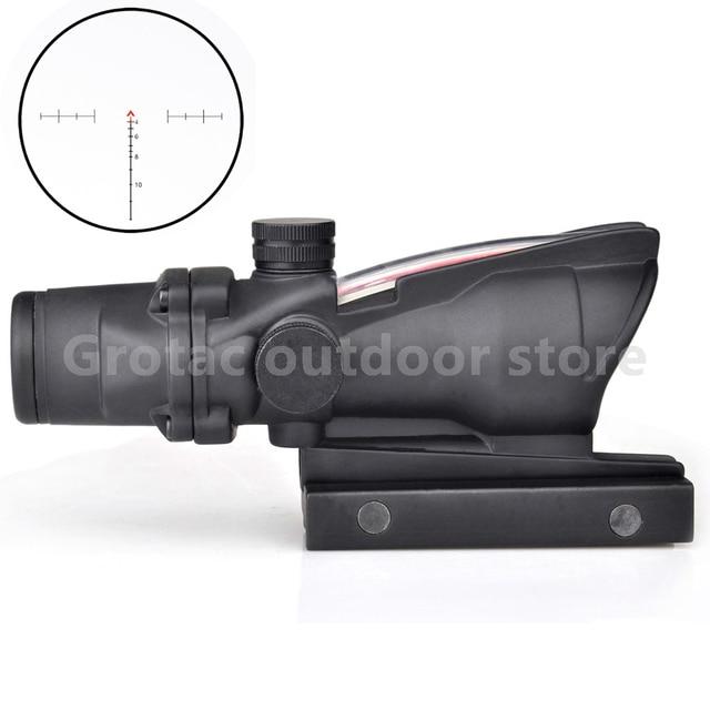 New 4x32 Acog Riflescope 20mm Dovetail Reflex Optics Scope Tactical Sight Rifle w/ Tri-Illuminated Chevron Recticle Fiber Source