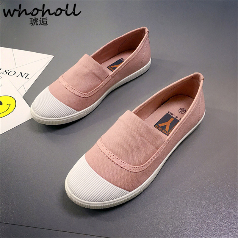 WHOHOLL Spring Women Flat Shoes Canvas Shoes Casual Female Loafers Shoes Soft Slip-on Moccasins Lady Driving Shoes Zapatos Mujer soft pu leather red flat shoes 2018 spring zapatos mujer women flats shoes casual superstar ladies home slip on shoes for women