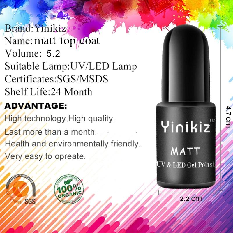 Yinikiz Black Bottle Matt Top Coat Gel Nail Polish French Tips Design Kit Uv Led Soak Off Dull Frosted Surface Permanent In From Beauty