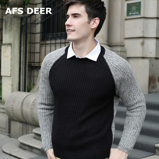 Sweater men pullover brand polo men sweater hombre clothing wool acrylic winter dress thick shirt O-neck patchwork  full sleeve