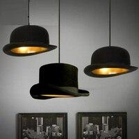 IWHD стиль лофт промышленный подвесной светильник черная шляпа Винтаж подвесные светильники столовая кухня Luminairea Железный Lamparas блеск