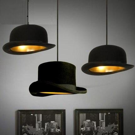 IWHD стиль лофт промышленный подвесной светильник черная шляпа винтажные подвесные светильники столовая кухня Luminairea гладить Lamparas блеск