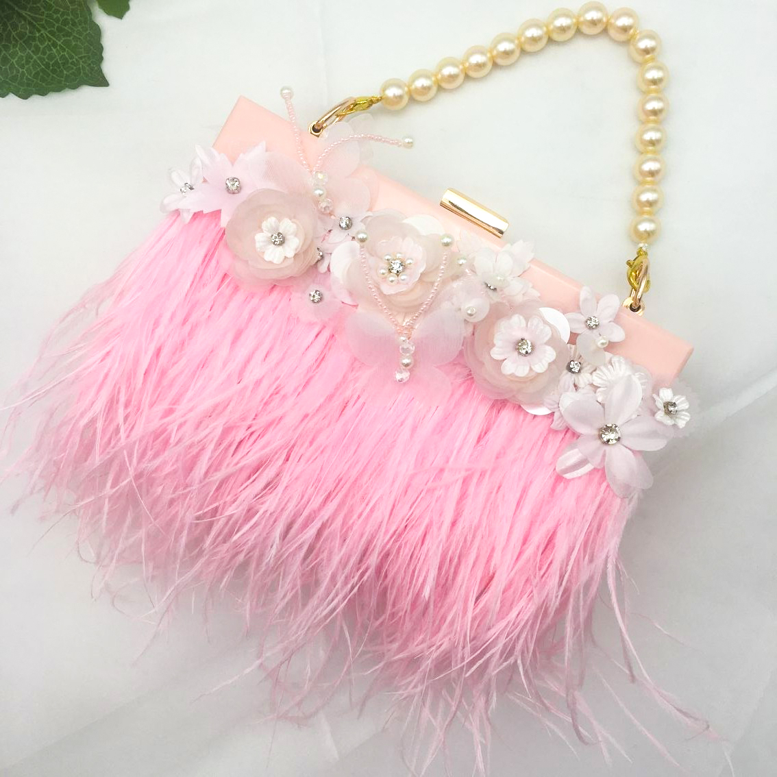 day clutches original Custom small bag girl 2018 new immortals flap wrapped pink feathers white lace flowers butterfly handbag chinese antique furniture of ming and qing dynasties copper fittings copper door wardrobe door handle round copper shoe handle