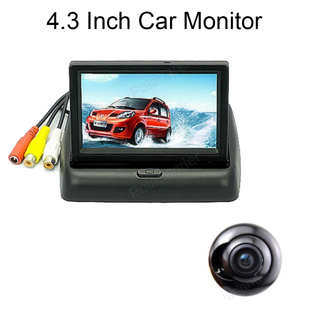 TFT LCD 4.3 Inch 2 Video Input Car Monitor 12V with 360 degree HD Car Reverse Parking rear view Camera