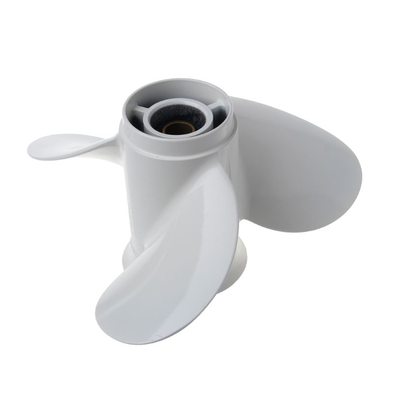 Boat Outboard Propeller 9 1/4 X 10 Aluminum Alloy For Yamaha 9.9-15HP 63V-45945-00-EL White 3 Blades 8 Spline Tooth R-Rotation